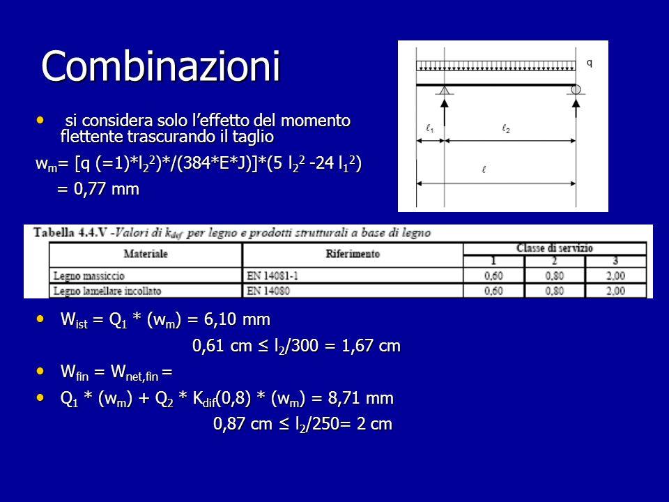 Combinazioni si considera solo l'effetto del momento flettente trascurando il taglio. wm= [q (=1)*l22)*/(384*E*J)]*(5 l22 -24 l12)